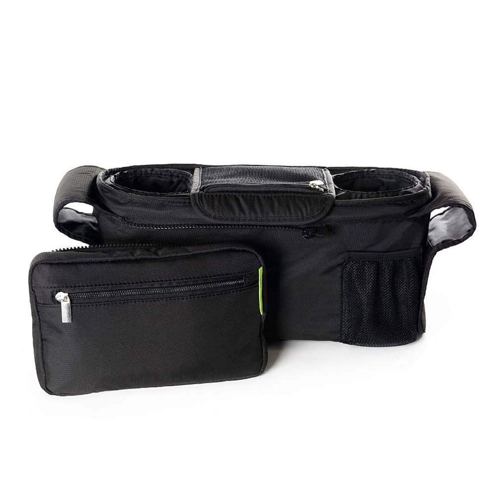 ZoneStar Black Stroller Organizer with Insulated Cup Holders, Detachable Phone Bag (Bag-Y-Black) by Zone Star (Image #2)