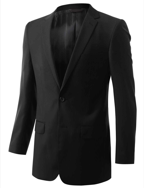 MONDAYSUIT Men's Modern Fit 2-Piece Suit Blazer Jacket & Trousers BLACK 50R 45W by MONDAYSUIT (Image #3)