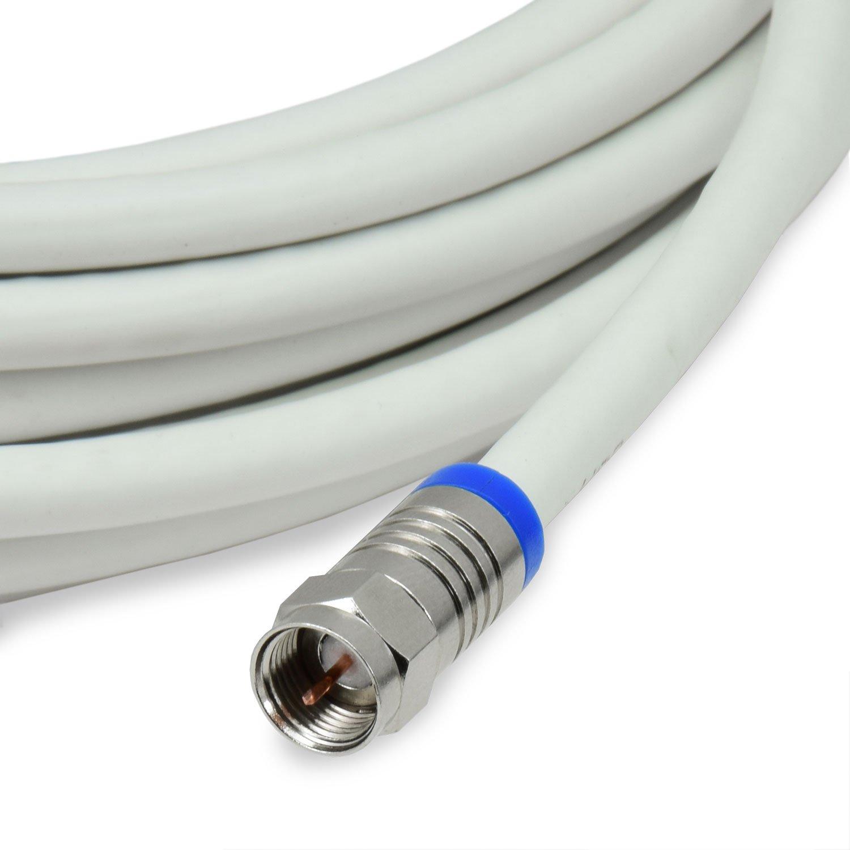 Satix cable coaxial profesional 10 m con conectores F factor de blindaje 120 dB para televisión Satélite Data o TDT blanco: Amazon.es: Electrónica