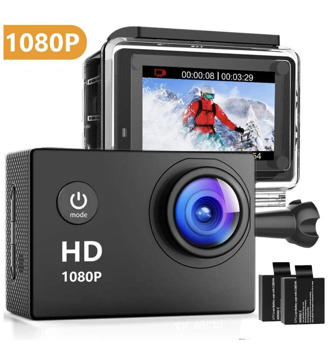 Oaixmn Action Camera 16MP 1080P Underwater Photography Cameras 140 Degree Ultra Wide Angle Lens with 2 Pcs Rechargeable Batteries and Mounting Accessories Kits - Black05 by Oaixmn