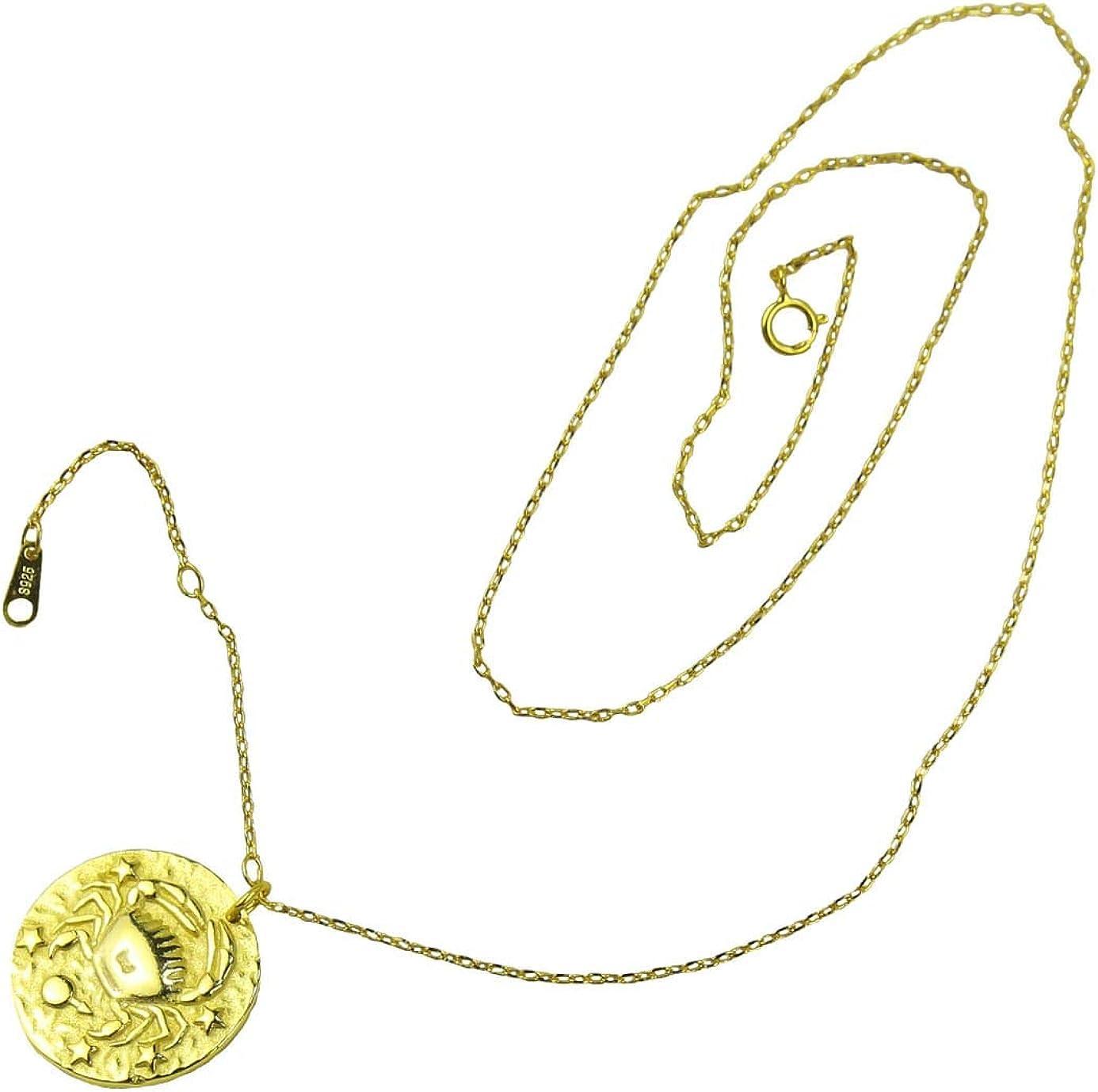 AC Collar para Hombre y Mujer, en Oro de 18 Quilates, Plata de Ley 925, Regalo de cumpleaños de Novia Hija, Envuelto para Regalo, Colgante, Signo del Zodiaco Cualquiera.
