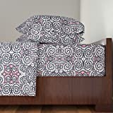 Roostery Pink 4pc Sheet Set Pink Is The Navy Blue Of India by Susaninparis Queen Sheet Set made with