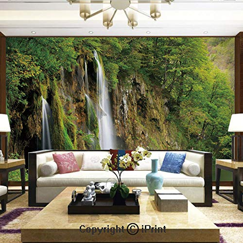 Wallpaper Nature Poster Art Photo Decor Wall Mural for Living Room,Majestic Waterfall Flowing Down to River in National Park Fresh Landscape Decorative,Home Decor - 100x144 -