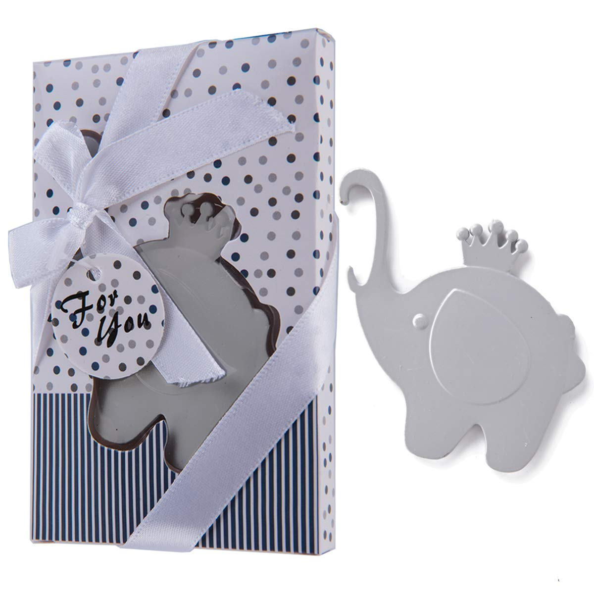 32 Pcs Elephant Themed Party Favors Beer Bottle Opener for Baby Shower Souvenirs for Guests, Baby Boy 1st 2nd 3rd Birthday Keepsake Return Gift with Individual Gift Package, NO DIY Required (Grey) by Morelegant