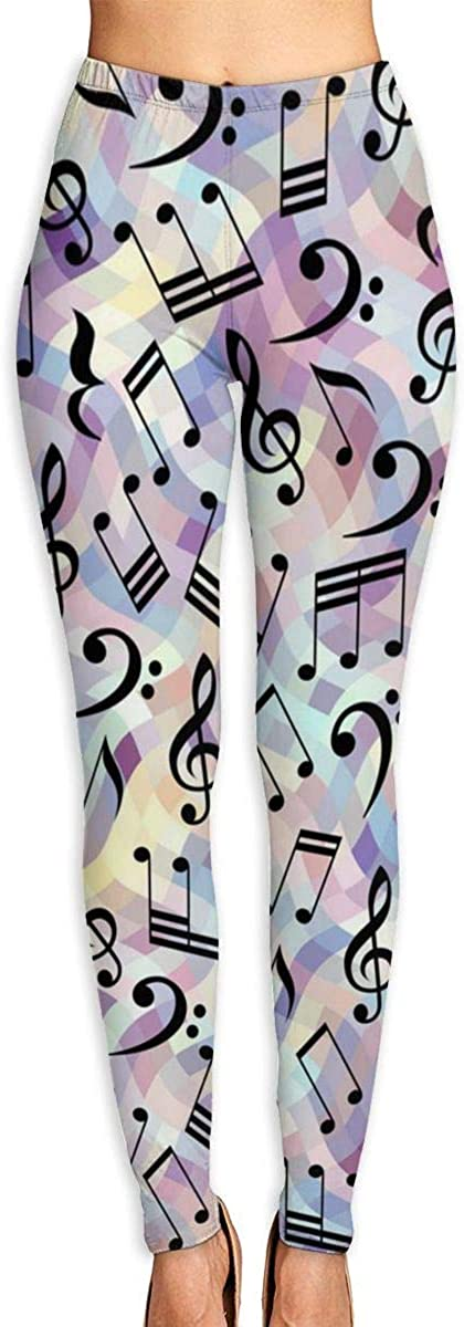 Merahans Classical Music Notes Womens Printed Yoga Pants High Waisted Workout Leggings