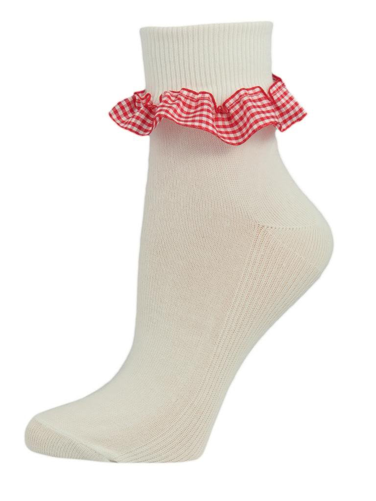 3 Pairs of Girls White Cotton Ankle Socks with a Gingham Frill. UK made by SocksAndTights
