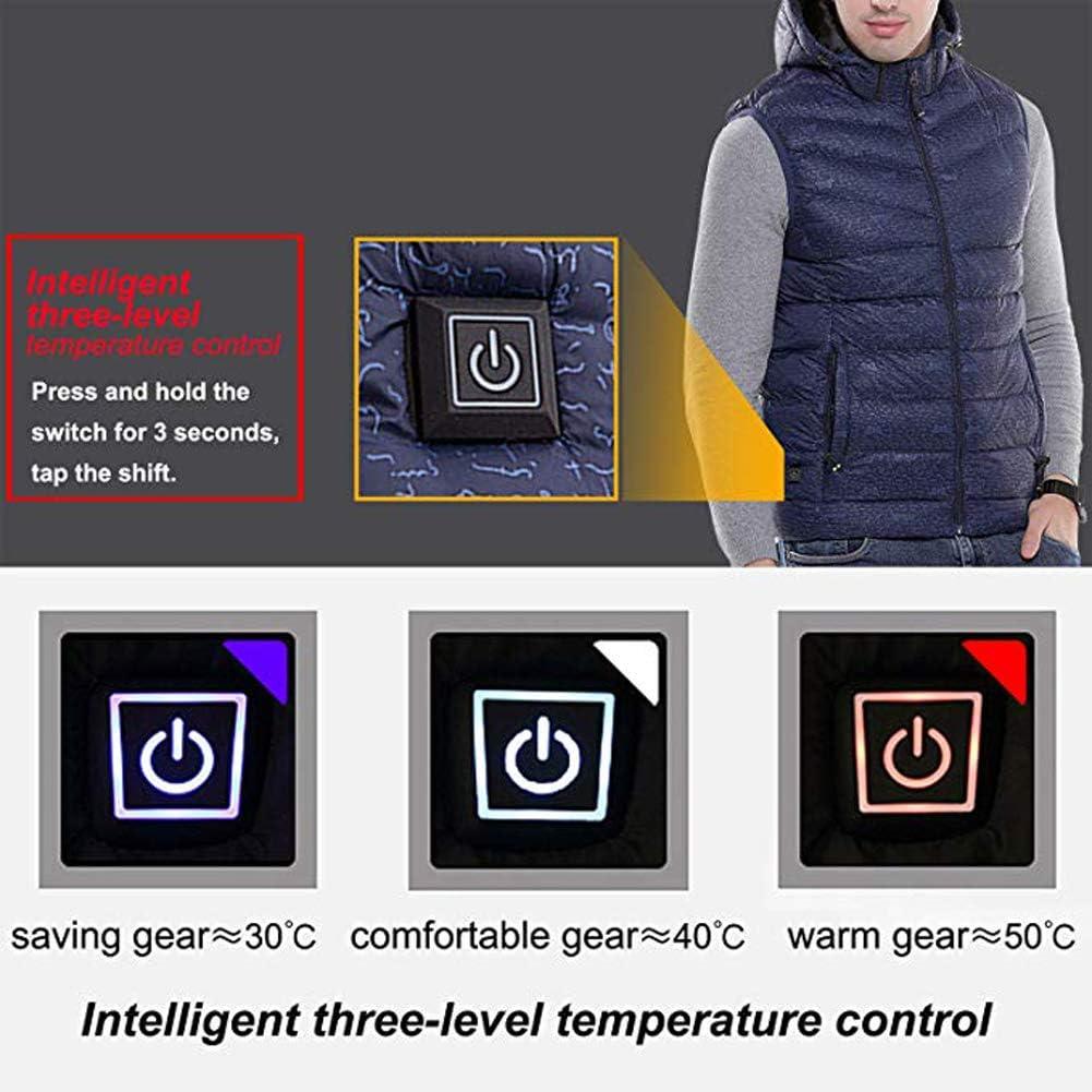 Byjia Vestes Chauffantes pour Hommes, Rechargeable USB Gilet Chauffant Électrique Léger avec Température Réglable Blue