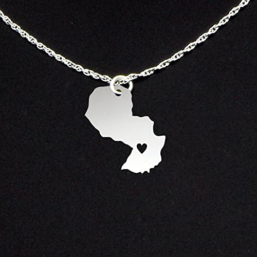 Amazon.com: Paraguay Necklace with Heart - Sterling Silver ...