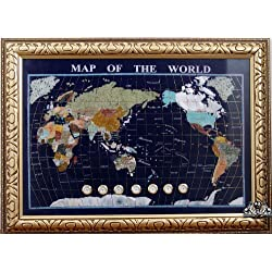 Unique Art 30-Inch Cross with Frame Blue Lapis Ocean gemstone World Map with Watch Clocks