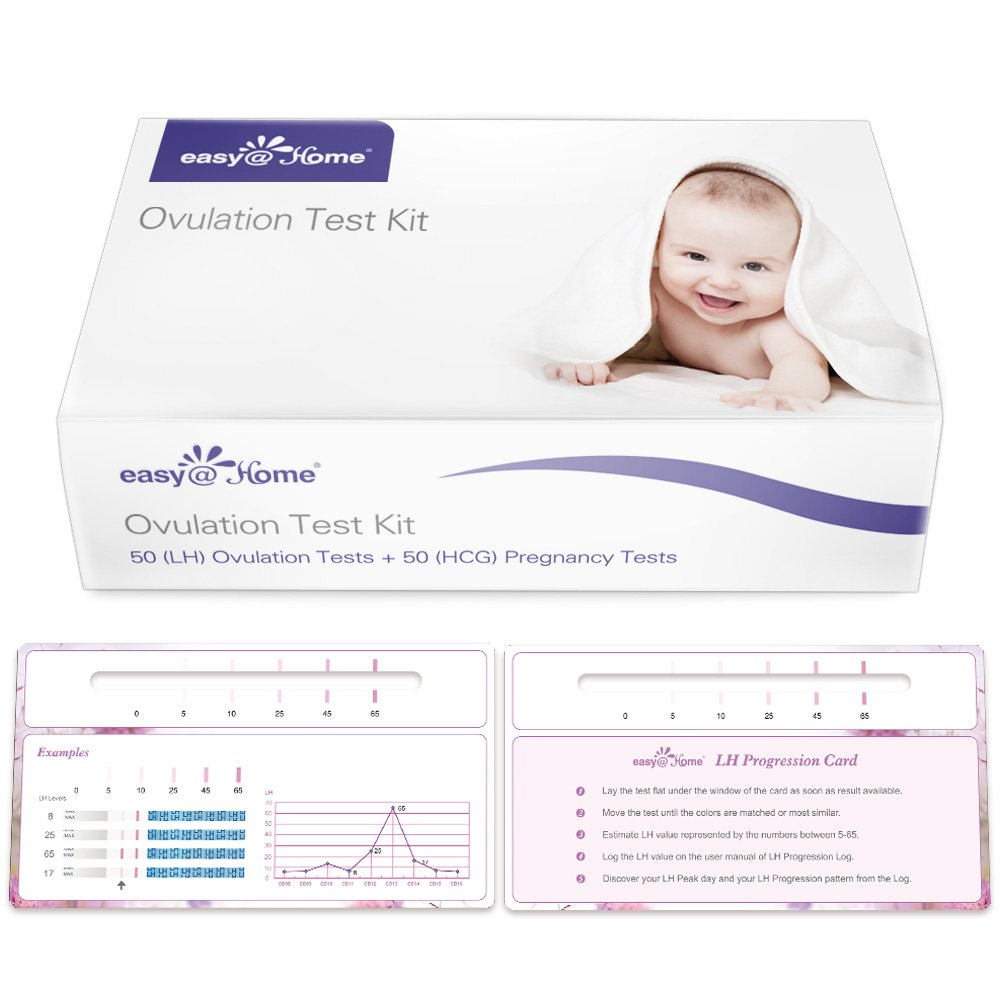 Easy@Home Newly Launched Ovulation Predictor Kit Including 50 LH and 50 hCG Ovulation Test Strips Plus Progression Card and Log, Ovulatory Monitor Test, 50 LH + 50hCG by Easy@Home
