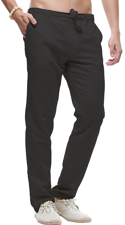 utcoco Mens Casual Drawstring Straight Fit Linen Beach Pants Flat Front