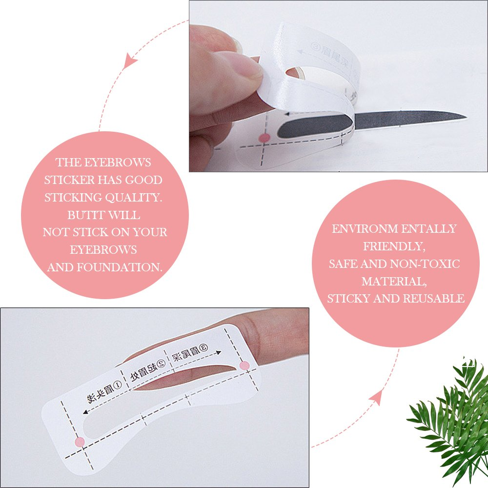 Eyebrow Stencil Shaper with 3 pcs Eyebrow Razor- Eyebrow Stencil Ruler Shaping Template for DIY Grooming – Eyebrows Grooming Stencil Kit Reusable Styling Tool, 16 Unique Styles, 32pcs by HIME SAMA (Image #3)