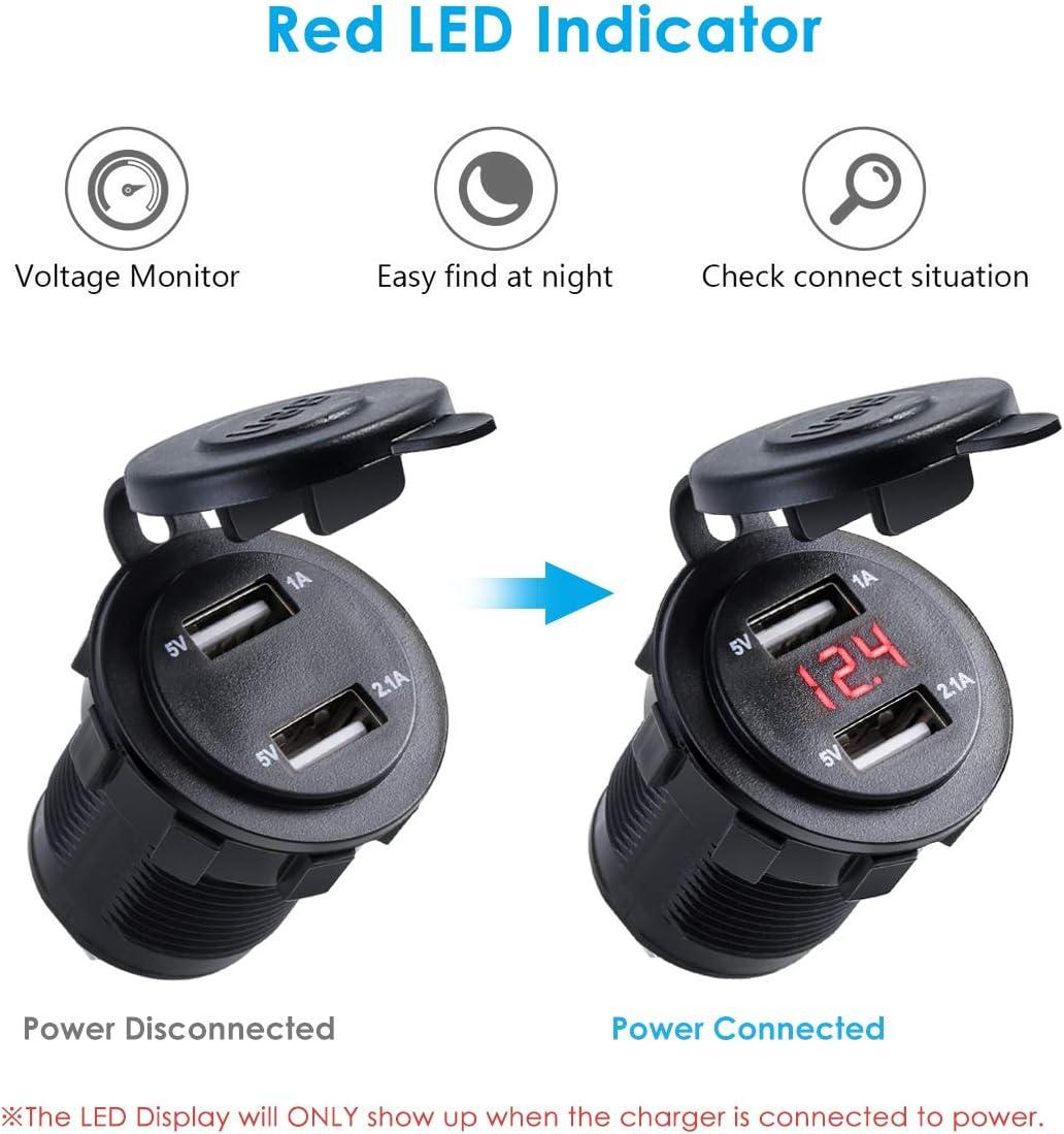 Yunnyp caricabatteria per Auto per Auto Doppio USB con Display Digitale 12 v 24 Porta USB Doppia Presa accendisigari per Auto Presa voltmetro Impermeabile