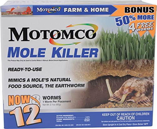 (Motomco 008-34310 198880 Mole Killer Ready to Use Bonus, 12 Worm Box)