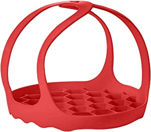 Silicone Pressure Cooker Sling 6 Qt / 8Qt, Multi-Function Cookers | Bakeware Pan Sling Lifter, Egg Rack, and Roasting Rack | Red