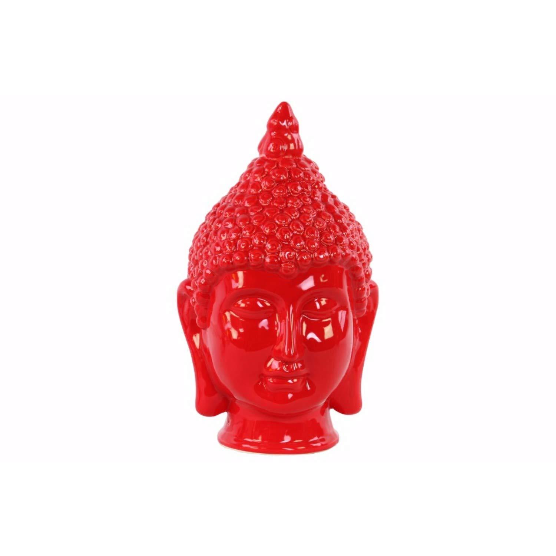 Benjara Pointed Ushnisha Glossy Buddha Head Statue, One Size, Red by Benjara