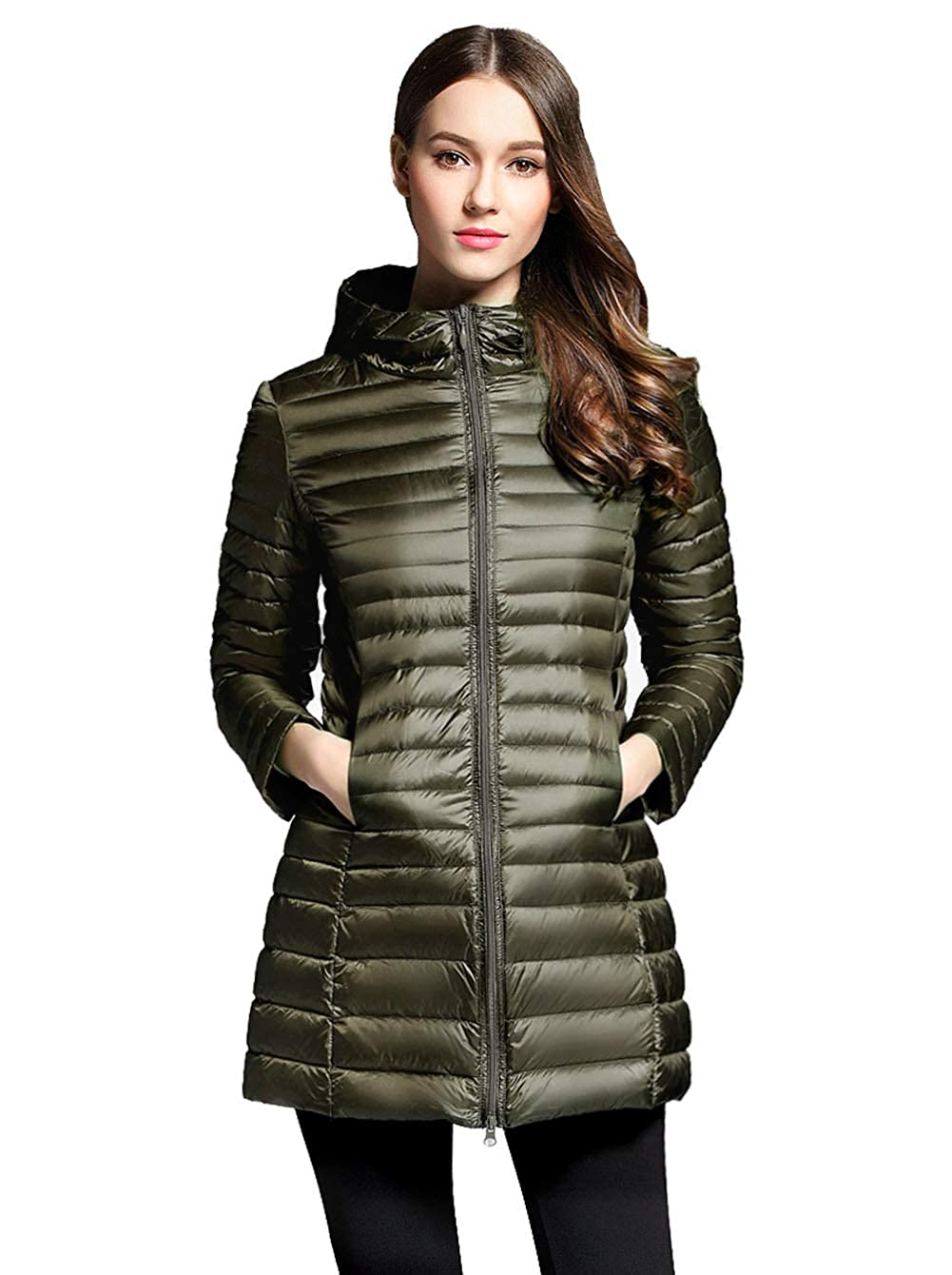 ffb56aa51 Sunseen Women's Lightweight Hooded Packable Slim Warm Outdoor Sports Travel  Insulated Parka Outerwear Puffer Jacket Down Coat