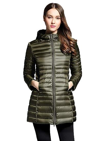 ca4ac895c sunseen Women's Puffer Down Jacket Coat,Packable Lightweight Hooded Slim  Warm Outdoor Sports Travel Insulated Parka Outerwear