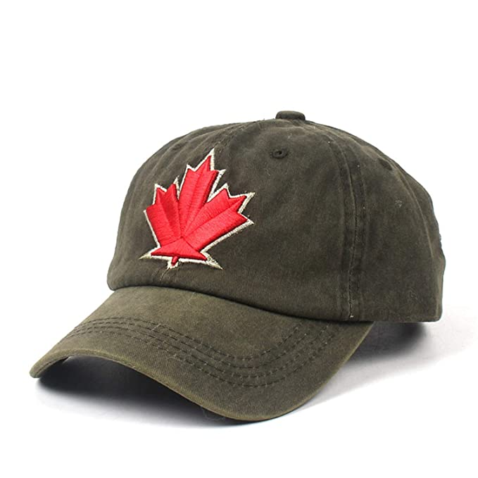 86ee996ca26 Cotton Summer Baseball Cap for Men Women Canada Maple Leaf Embroidery  Custom Snapback Hat at Amazon Women s Clothing store