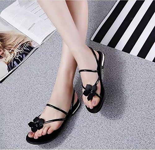 Chaussures À Thirty Loisirs Fond Pantoufles Plat Les Femmes Les Plaque Des De Cool De Noire six GTVERNH Fleur Coréennes Tep zB5xUw