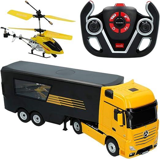 Rastar - Camión radiocontrol Mercedes Benz y Helicóptero, Escala 1 ...