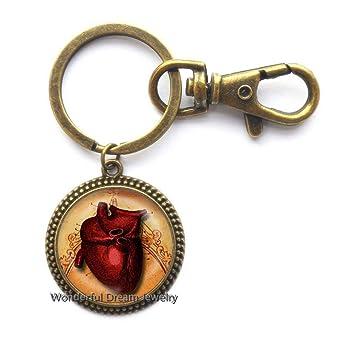 Llavero de corazón anatómico de cristal impreso con diseño ...
