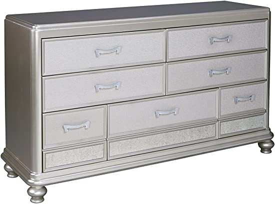 Ashley Furniture Signature Design – Coralayne Chest of Drawers – Exquisite Hollywood Regency Flair Dresser – Silver