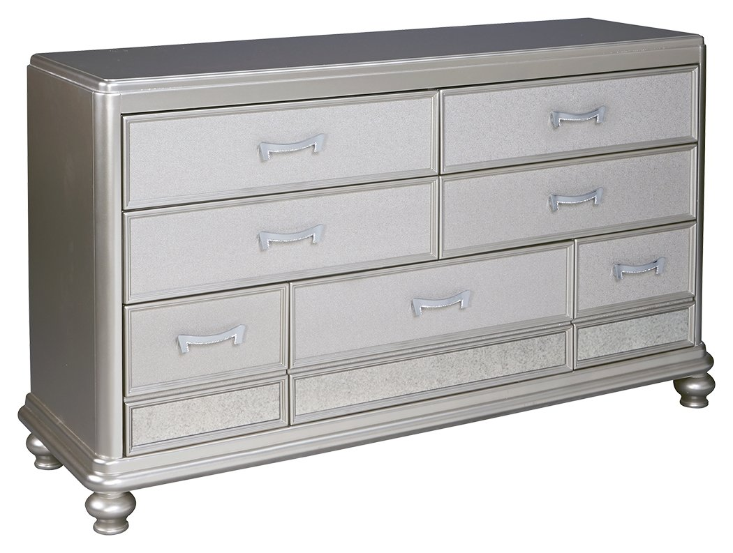 Ashley Furniture Signature Design - Coralayne Chest of Drawers - Exquisite Hollywood Regency Flair Dresser - Silver