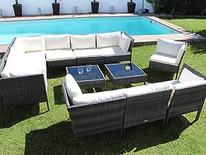 Kiefergarden - Muebles de Jardín Exterior formado por sofás de jardín Exterior Modular y Dos mesas de jardín Kansas Deluxe Hecho de ratán sintético en Color Gris: Amazon.es: Jardín