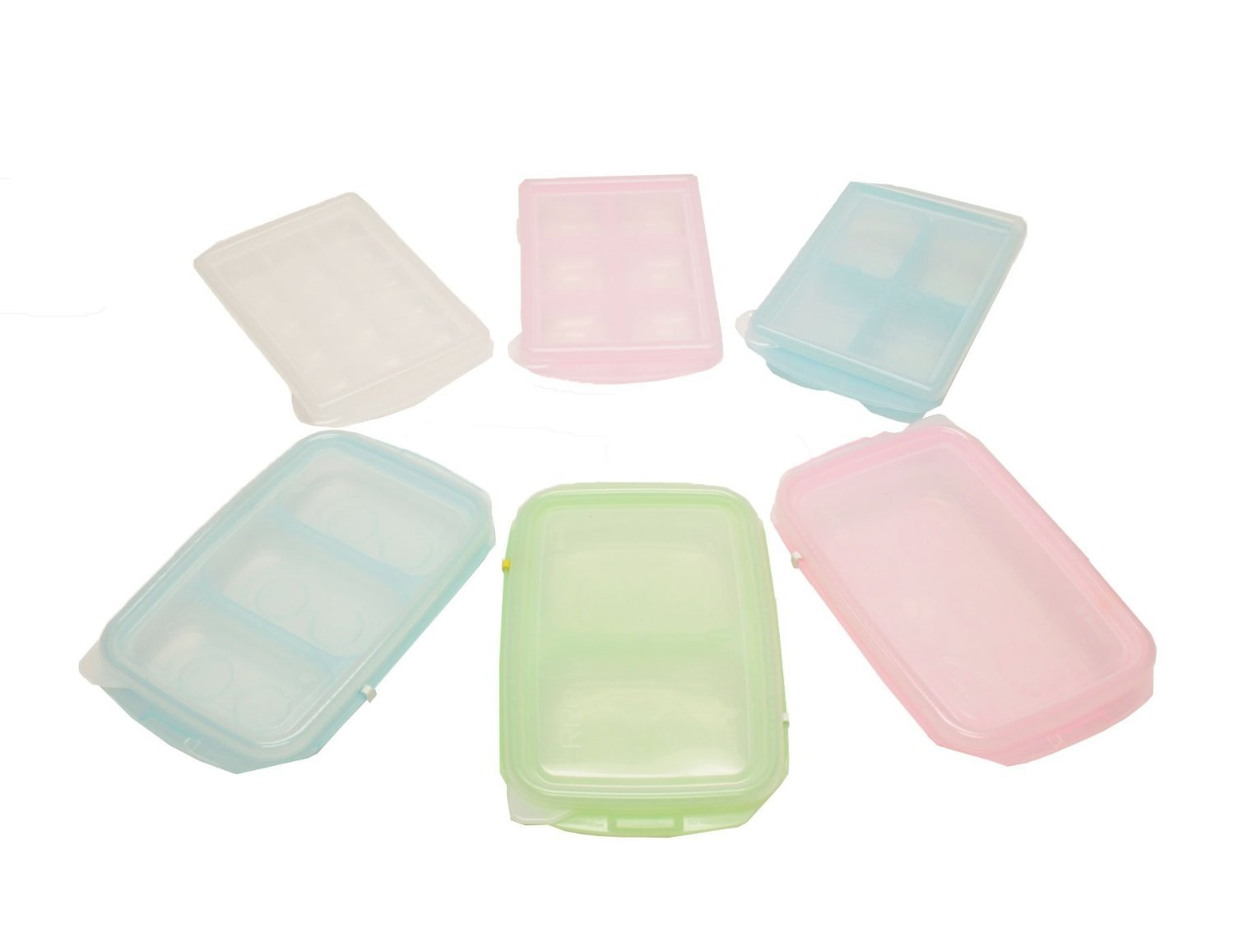 HSI Easily Pop Out 1, 2, 3, 4, 6, 15 Compartments Ice Cube, Baby Food sets, BPA-free PE Tray with Clear Lid in Multi Color, RRE Ice Cube Tray, Set of 6