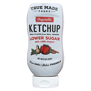 True Made Foods Vegetable Ketchup Inverted Plastic Squeeze, Paleo Friendly, Low Sugar, 17 oz