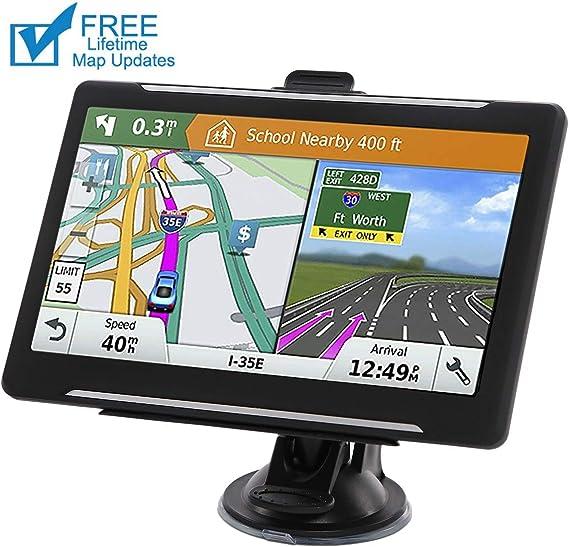 cami/ón sat/élite con Parasol 256 MB navegador para Coche 8 GB Sistema de navegaci/ón GPS de 7 Pulgadas Sat Nav