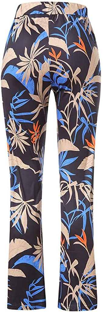 2019 Womens Casual Floral Wide Leg High Waist Palazzo Long Lounge Pants Summer Boho Pants Full Length Trousers