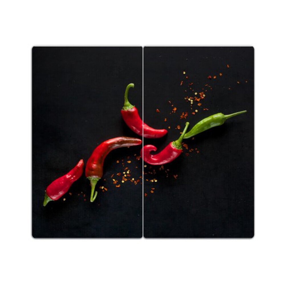 Glass Hob Cover with Dots Decorative Glass Set of 2 Chopping Board Splash Guard Chili DekoGlas 2-teilig