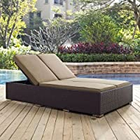 Modway Convene Patio Double Chaise Lounge in Espresso and Mocha