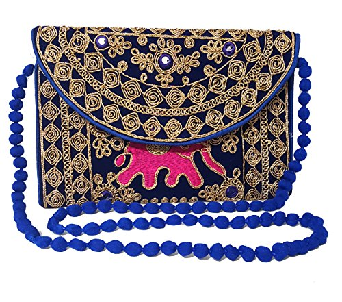 Wristlet Embroidered Handbag Purse Handmade Bridal Clutch Party Indian Bag aqv0TAf
