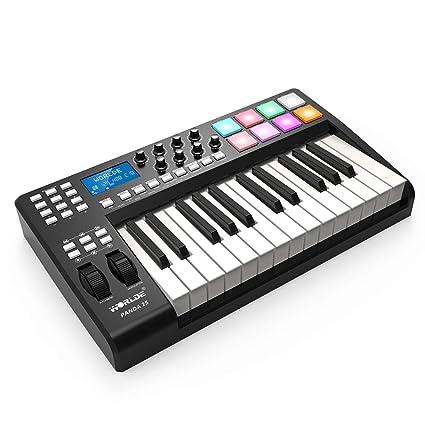 Muslady WORLDE PANDA25 Compacto 25 teclas Controlador de Teclado MIDI USB 8 RGB Almohadillas Retroiluminadas Coloridas