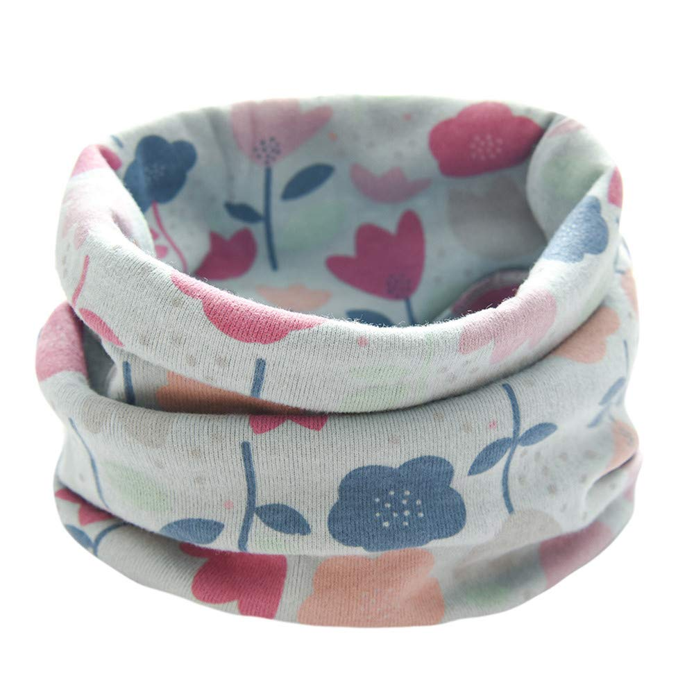 Kids Infinity Scarf, Inkach Winter Baby Boy Girl Floral Print Scarf Cotton O-Ring Neck Scarves (Blue)