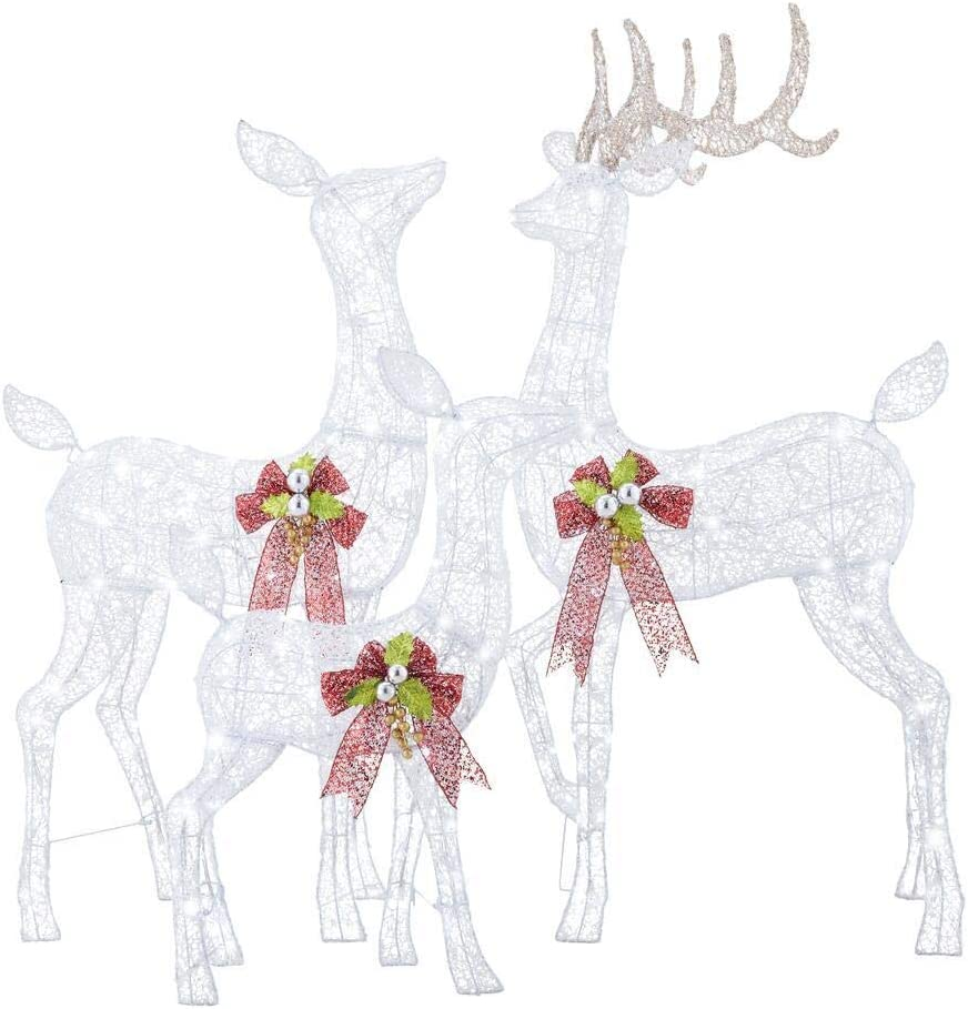 Home Accents Holiday 3-Piece Fantasleigh Outdoor Christmas Deer Family with LED Cool White Lights
