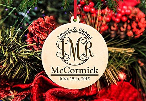 Personalized Christmas Ornament- Monogram Couple