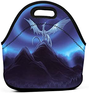 Drawing Dragon Insulated Neoprene Lunch Bag Tote Handbag lunchbox Food Container Gourmet Tote Cooler warm Pouch For School work Office