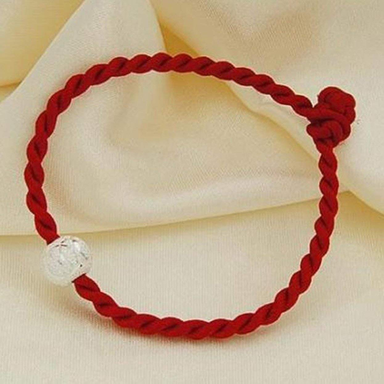 Tellaboull Chinese Feng Shui Lucky Red String Rope Hand-Woven Pieces with Silver Beads Red Rope Knit Bracelets Simple Fashion Bracelet