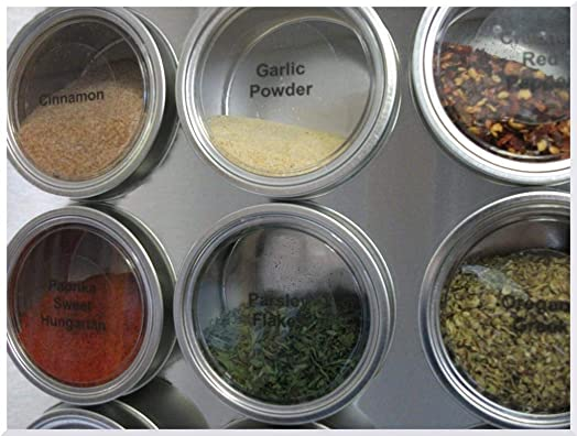 Culinarian Magnetic Spice Rack-48 Applause Clear Lid Round Magnetic Spice Tins Choose 4 or 6 oz , Colored or Stainless Steel Versa-Board Magnet Panel, 150 Clear Printed Spice Labels 30 Blank Labels