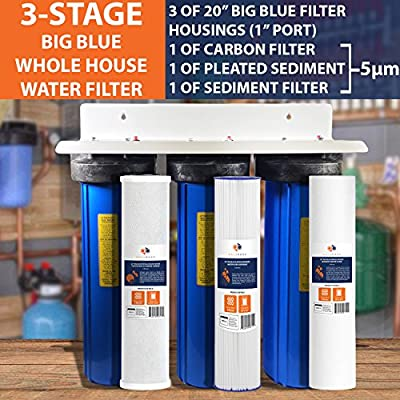 """3-Stage Big Blue 20"""" Whole House System 1"""" Port+Carbon,Sediment,Pleated Filters"""