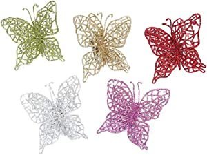 VOSAREA 20pcs Christmas Glitter Butterfly Ornament DIY Craft Butterfly Clip Simulation Hollow Out Butterfly for Christmas Tree Party Wedding Bedroom Decor (Gold+Silver+Green+ Purple)