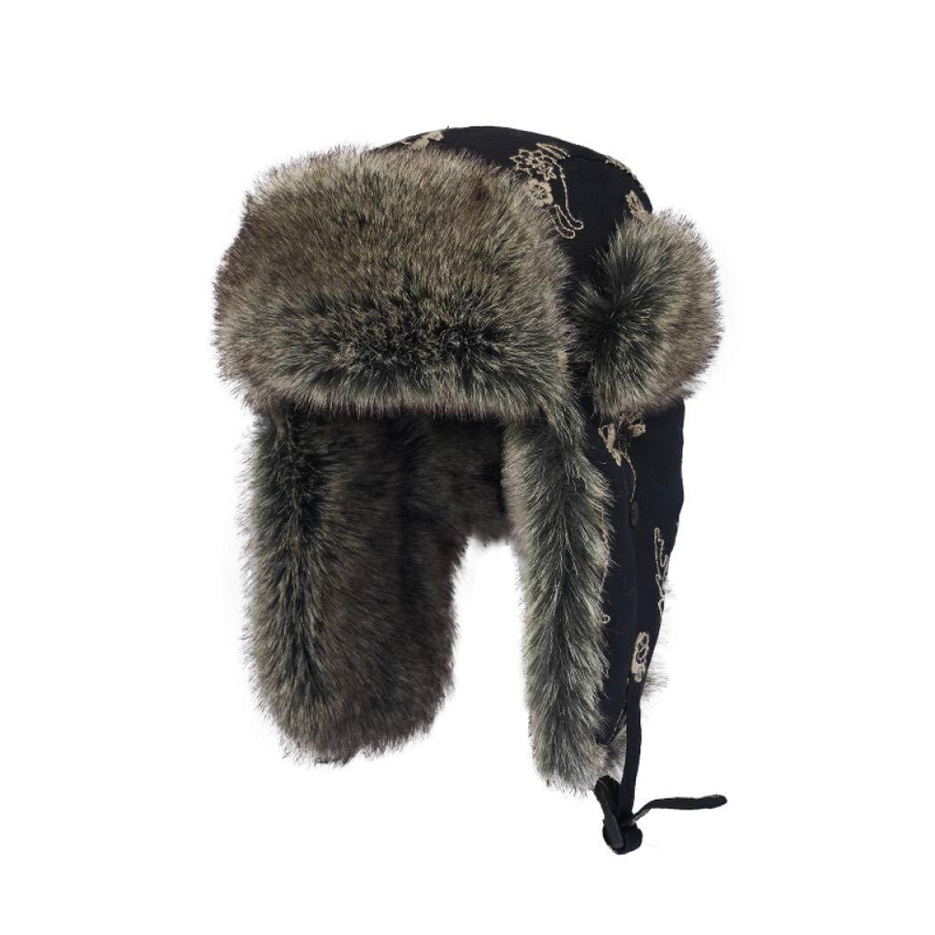 帽子女性の冬シックニング暖かいレイ風水帽子北東冷たいイヤーマフ男性用屋外ライディング防風コットンキャップ ブラック One Size