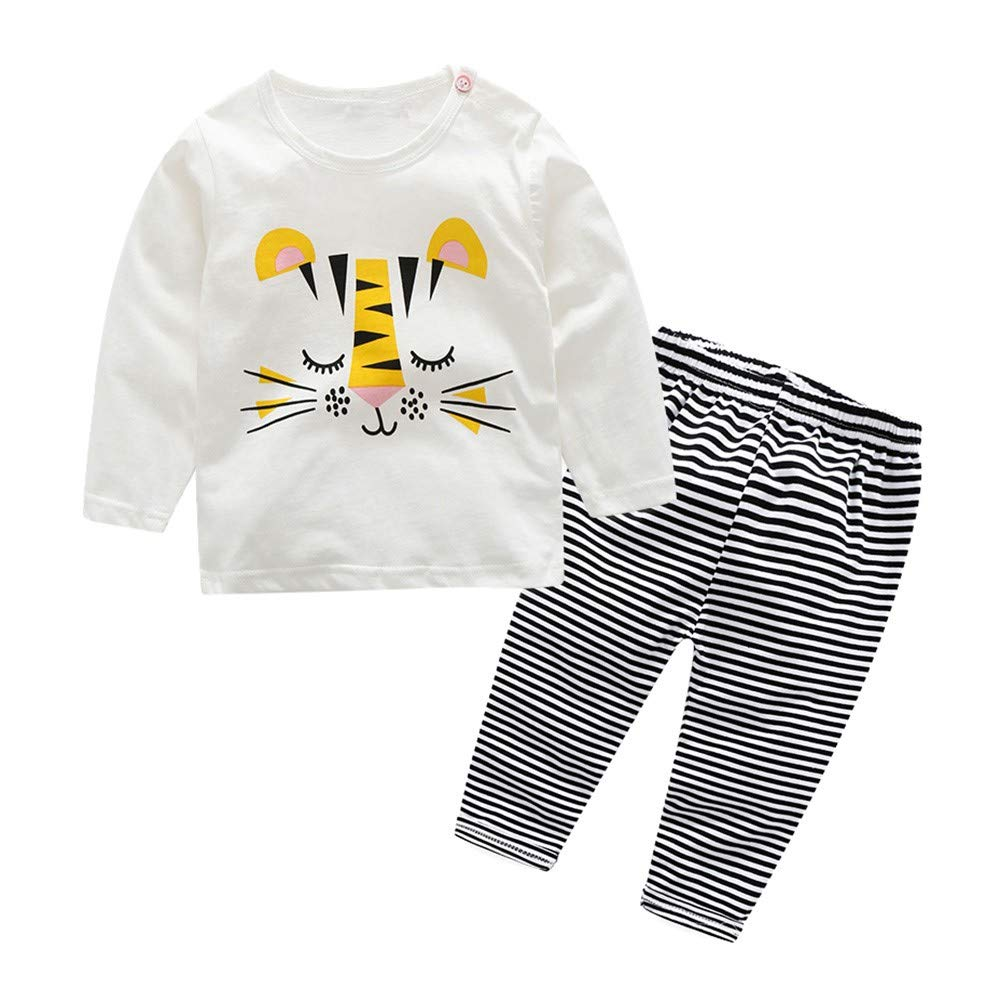 PLOT 2Pcs Newborn Baby Girls Boys Long Sleeves Tops+Floral Pants Clothes Outfit 0-2T