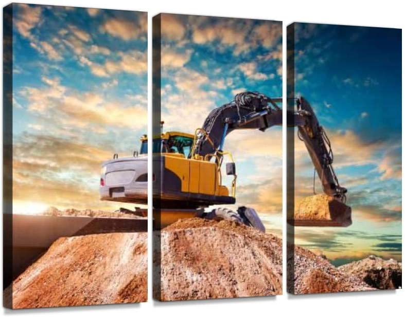 YKing1 Excavator at a Construction site Against The Setting Sun Wall Art Painting Pictures Print On Canvas Stretched & Framed Artworks Modern Hanging Posters Home Decor 3PANEL