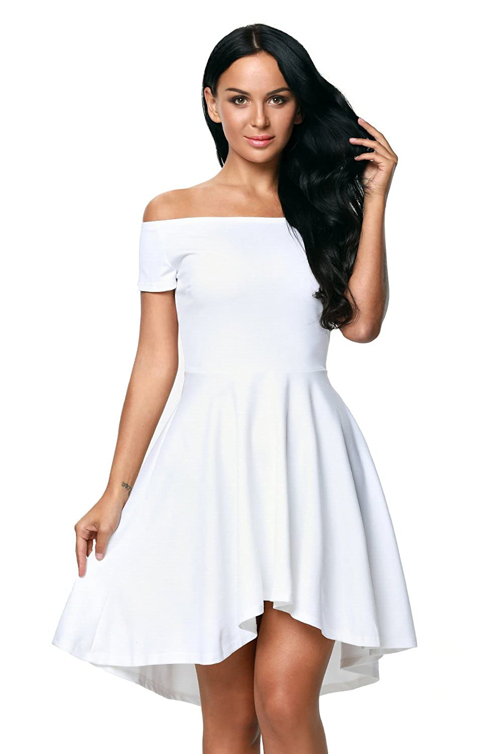 4f47a5b6ea White Women Off Shoulder Sleeve High Low Skater Dress at Amazon Women s  Clothing store
