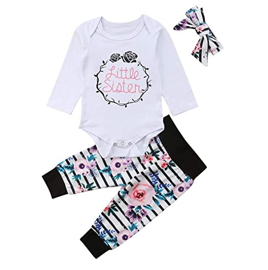 c19c6f4bf Amazon.com  Toddler Baby Girl Floral Outfits Little Sister Floral ...